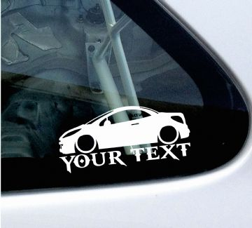 2x Custom YOUR TEXT Lowered car stickers - Peugeot 207 cc / 207cc coupe convertible